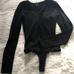 Guess black bodysuit long sleeve